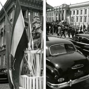 W maju 1958 r. odbyły się przygotowywane od dawna obchody jubileuszowe UW. Uczczono inaugurację uczelni z 14 maja 1818 r. Obok konferencji, wystaw i akademii odbył się barwny pochód ubranych w togi i birety profesorów. W ten sposób Uniwersytet podkreślił swoje przywiązanie do akademickiej tradycji. Na ilustracji: Uroczystość przed Auditorium Maximum, zbiory Muzeum UW