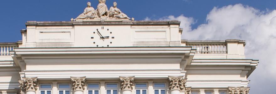 Zegar na budynku Dawnej Biblioteki, fot. M. Kaźmierczak
