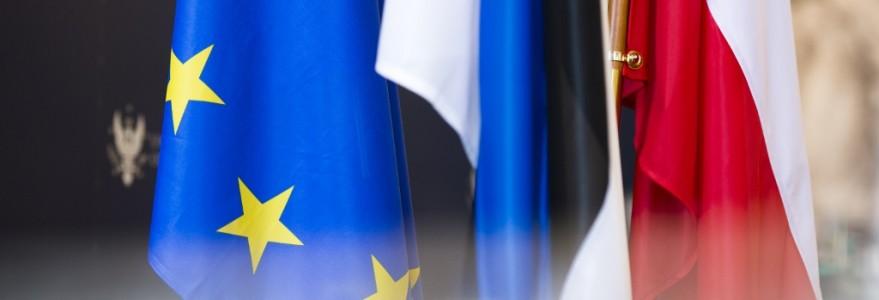 Flagi Unii Europejskiej, Estonii i Polski, fot. M. Kaźmierczak
