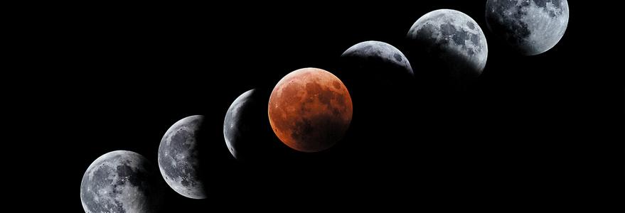 Kolejne fazy zaćmienia Księżyca w roku 2003. Źródło: J.C. Casado / starryearth.com