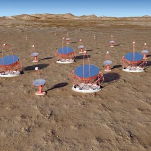 Wizualizacja sieci teleskopów czerenkowskich obserwatorium Cherenkov Telescope Array. Źródło: CTA / Pérez, IAC, SMM