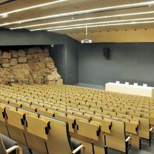 Największa aula wykładowa a jednocześnie sala konferencyjna. Na dwóch bocznych ścianach widoczne są prawdziwe skalne odsłonięcia.