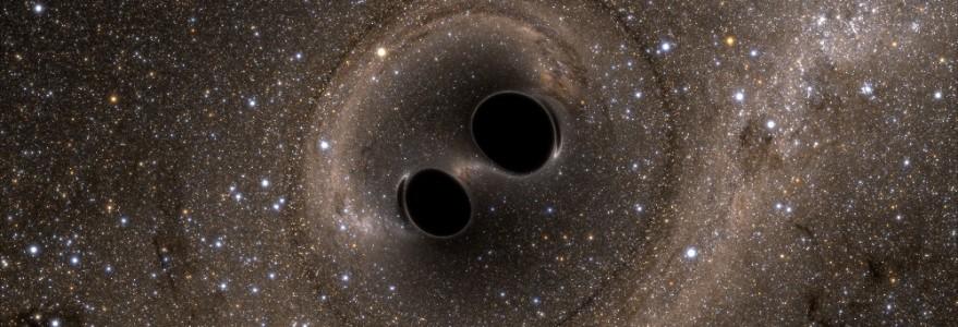 Czarne dziury, ilustracja ze zbiorów zespołów LIGO i Virgo.