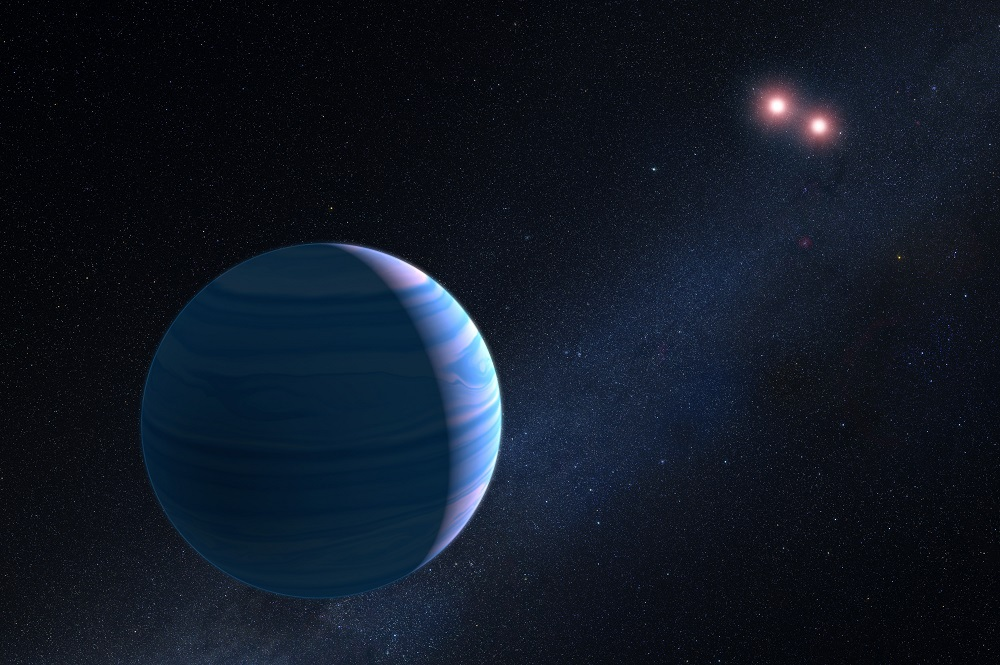 This artist's impression shows a gas giant planet circling the two red dwarf stars in the system OGLE-2007-BLG-349, located 8 000 light-years away. The planet — with a mass similar to Saturn — orbits the two stars at a distance of roughly 480 million kilometres. The two red dwarf stars are a mere 11 million kilometres apart. The artist's impression is based on observations made with Hubble that helped astronomers confirm the existence of a planet orbiting The two stars in the system. The system is too far away for Hubble to take an image of the planet. Instead, its presence was inferred from gravitational microlensing. This phenomenon occurs when the gravity of a foreground star bends and amplifies the light of a background star that momentarily aligns with it. The particular character of the light magnification can reveal clues to the nature of the foreground star and any associated planets. The Hubble observations represent the first time such a three-body system has been confirmed using the gravitational microlensing technique.