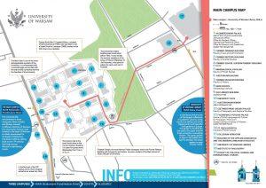 Mapa kampusu UW dla turystów