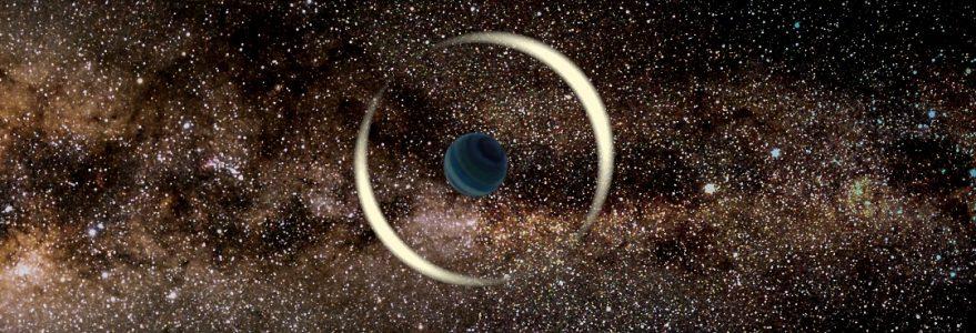 Symulacja zjawiska soczewkowania światła gwiazdy przez planetę swobodną na tle Galaktyki. Źródło: Jan Skowron/Obserwatorium Astronomiczne UW.