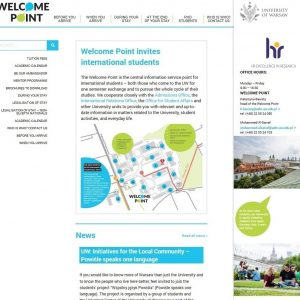 Welcome Point UW – punkt informacyjny dla studentów zagranicznych: http://welcome.uw.edu.pl