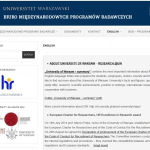Angielska strona Biura Międzynarodowych Programów Badawczych (wcześniej Biura Obsługi Badań): http://bmpb.uw.edu.pl/english