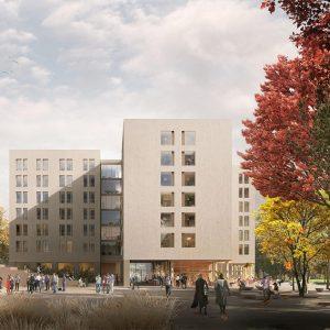 Projekt akademicka na Służewcu, autorstwa pracowni Projekt Praga, która zajęła I miejsce w konkursie architektonicznym.