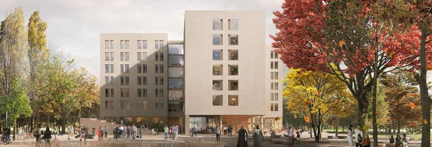 Uniwersytet dysponuje 6 domami studenckimi. W planach ma budowę dwóch kolejnych. Na ilustracji projekt akademicka na Słuzewcu, autorstwa pracowni Projekt Praga, która zajęła I miejsce w konkursie architektonicznym.