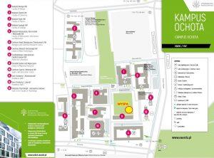 Lokalizacja Wyspy na mapie kampusu Ochota. Źródło: CNBCh