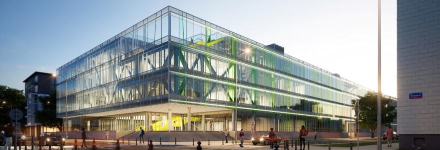 Wizualizacja budynku przy ul. Dobrej 55. Autor: Kuryłowicz & Associates.