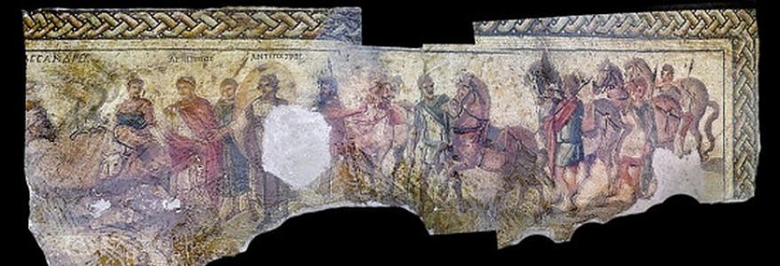 Fragmenty skradzionej mozaiki. Fot. autor nieznany, zdjęcia zmodyfikowała dr Dobrochna Zielińska.