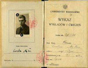 Indeks Czesława Miłosza. Źródło: zbiory Muzeum UW