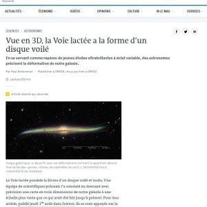 Francja, Le Monde: https://www.lemonde.fr/sciences/article/2019/08/06/vue-en-3d-la-voie-lactee-a-la-forme-d-un-disque-voile_5496954_1650684.html
