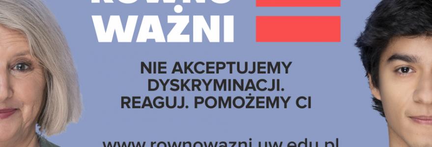 """14 października ruszyła kampania społeczna """"Na Uniwersytecie wszyscy jesteśmy równoważni""""."""