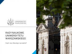"""Prezentacja pdf """"Rady naukowe Uniwersytetu Warszawskiego"""""""