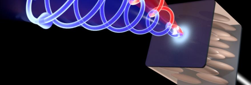 Schemat doświadczenia – polaryzacja kołowa światła (zaznaczona czerwonym i niebieskim kolorem) przechodzącego przez wnękę wypełnioną ciekłym kryształem zależy od kierunku propagacji. (Źródło: Mateusz Król, Wydział Fizyki UW)