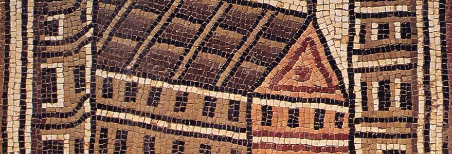 Nowo zidentyfikowany zegar słoneczny na panelu (1,22 x 0,85 m) miasta Sebastis, mozaika z kościoła w Umm al-Rasas, 718 r. n.e.. Źródło: artykuł dr. hab. M.T. Olszewskiego.