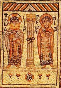 Nowo zidentyfikowany zegar słoneczny na mozaice Orfeusza z Jerozolimy, ok. 550 n.e.; Muzeum Archeologiczne w Istambule. Źródło; artykuł dr. hab. M.T. Olszewskiego.