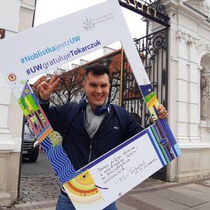 Kacper Kaczmarek, student Wydziału Dziennikarstwa, Informacji i Bibiologii