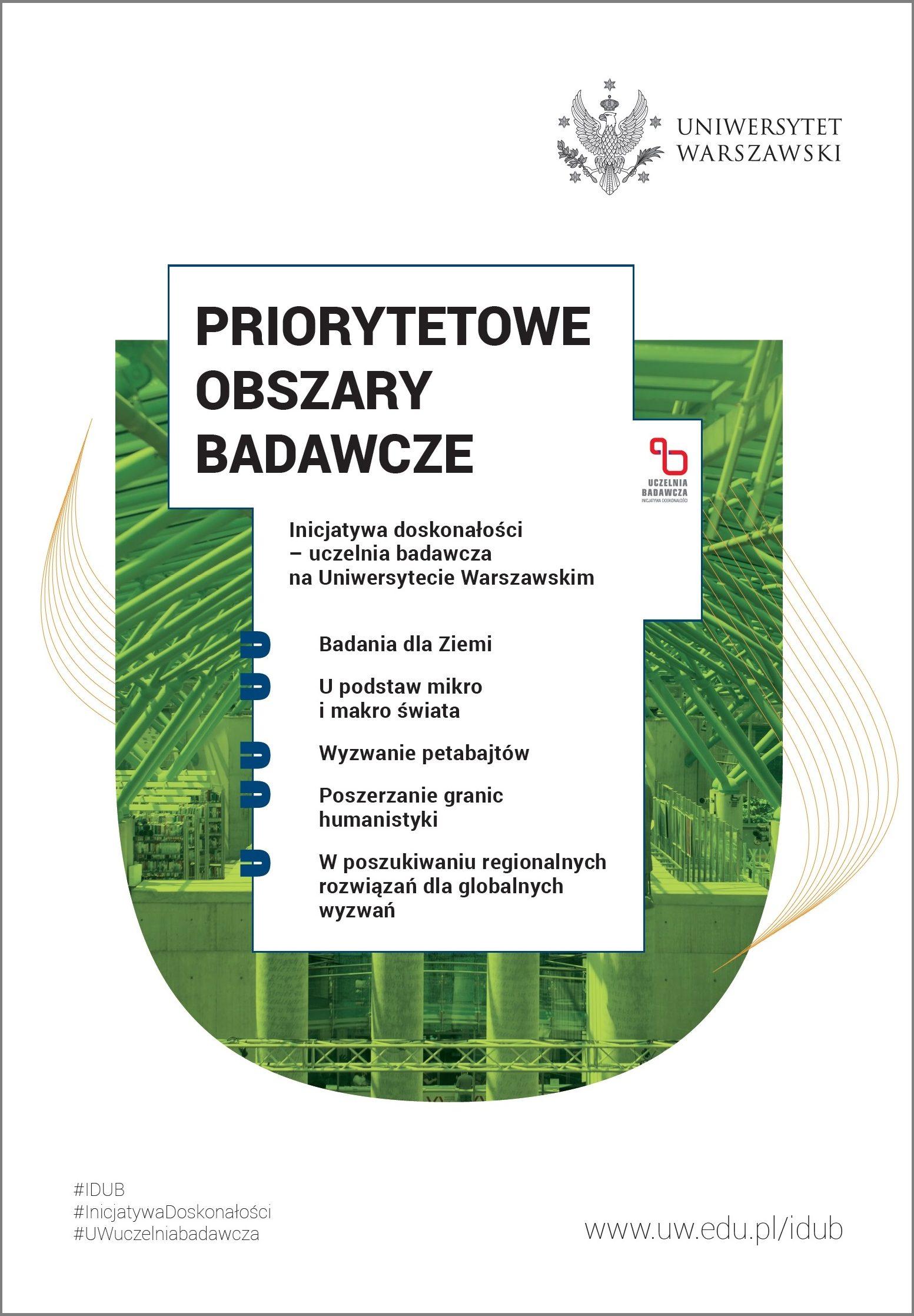 """Plakat IDUB """"Priorytetowe obszary badawcze"""""""