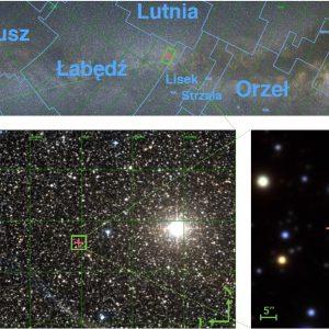 Mapa nieba z różnym polem widzenia (powiększeniem). Na górze widok na całą północną część Drogi Mlecznej, poniżej po lewej powiększenie tego obszaru widoczne przez lornetkę lub mały teleskop, po prawej na dole widok na obserwowaną gwiazdę z teleskopu o średnicy 1.8m. Autorzy: Łukasz Wyrzykowski i Mariusz Gromadzki (OA UW).