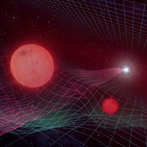 Wizja artystyczna układu podwójnego soczewkującego w zjawisku Gaia16aye i wywołanego przez nie zakrzywienia czasoprzestrzeni. Autor: Maciej Rębisz.
