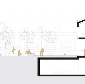 Wizualizacja koncpecji górnego dziedzińca autorstwa pracowni 22 Architekci
