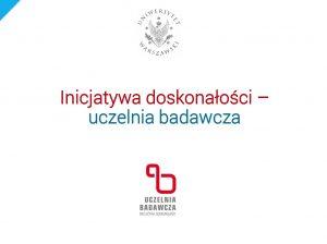 Prezentacja dr. hab. Macieja Duszczyka, prorektora UW ds. naukowych, przedstawiona na spotkaniu informacyjno-konsultacyjnym dot. IDUB 24.02.2020 r.