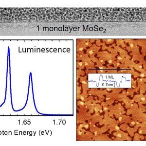 Od góry - przekrój przez monowarstwę dwuwymiarowego materiału – diseleneku molibdenu (MoSe2) wyhodowanego metodą epitaksji z wiązek molekularnych na podłożu z azotku boru. Po lewej – widmo fotoluminescencji z wąskimi rezonansami ekscytonowymi świadczącymi o wysokiej jakości optycznej warstwy. Po prawej – widok z góry uzyskany przy pomocy mikroskopu sił atomowych (AFM), na którym widać, że większość powierzchni to monowarstwa, z małymi plamkami dwuwarstwy, i małymi obszarami nieprzykrytego podłoża hBN. Źródło: Wydział Fizyki UW.