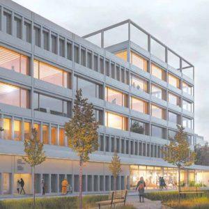 Wizualizacja budynku dla nauk psychologicznych i pokrewnych na Ochocie. Ilustracja autorstwa pracowni Piotr Bujnowski Architekt, projektanta budynku.