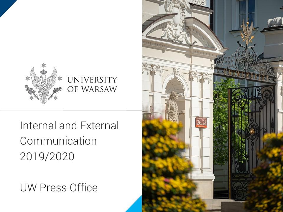 "Prezentacja ""Internal and External Communication, UW Press Office, 2020"""