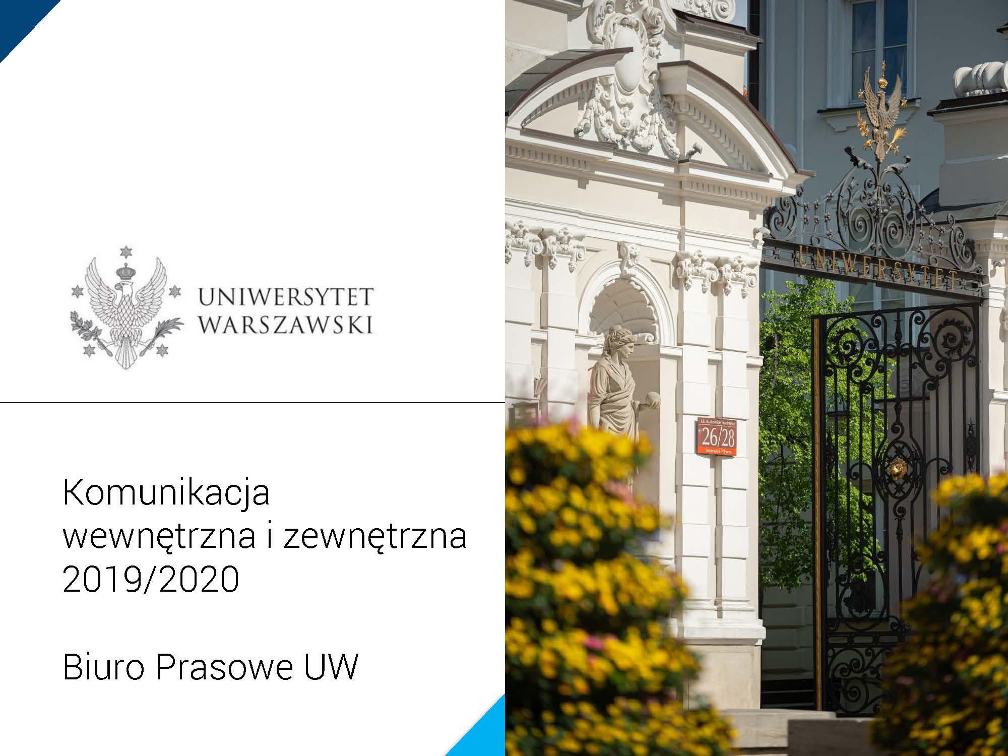 """Prezezntacja """"Komunikacja wewnętrzna i zewnętrzna, Biuro Prasowe UW, 2020"""""""