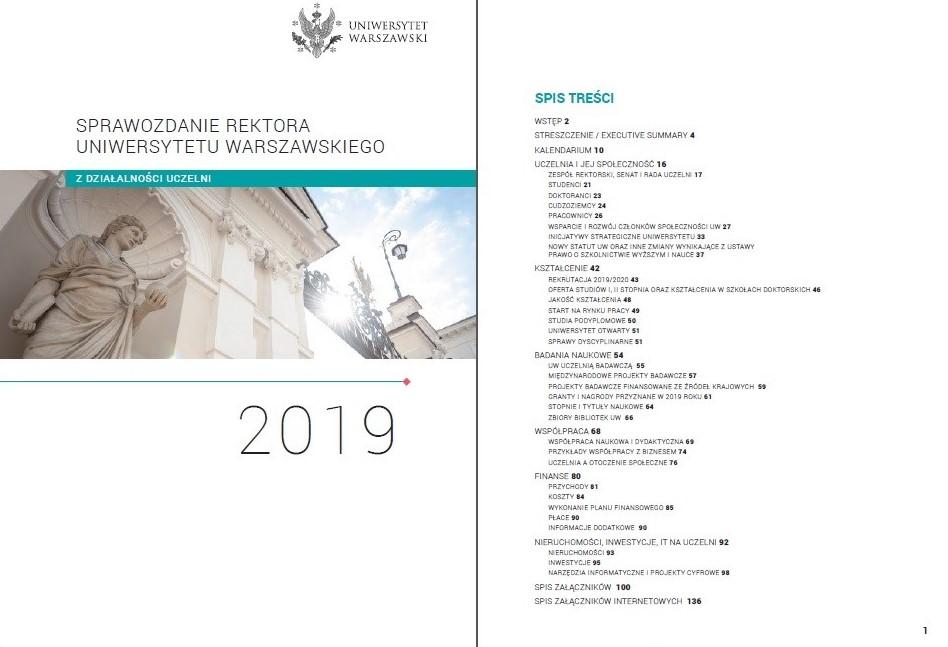 Sprawozdanie rektora UW z działalności uczelni w 2019 roku