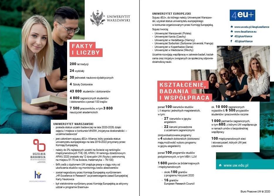 Publikacje informacyjne o Uniwersytecie na rok 2020/2021
