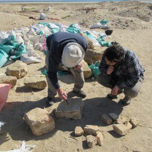 Fragmenty bloków z tekstami hieroglifycznymi z gruzowiska wewnątrz świątyni. (Fot. I. Zych / CAŚ UW)