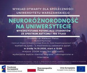 Plakat Neuroróżnorodność, wykład 2020