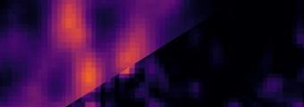 Obraz mikrotubul w utrwalonej próbce komórek 3T3 barwionej kropkami kwantowymi. Dane zostały przeanalizowane na dwa sposoby. Lewa górna strona: image scanning microscopy (ISM), prawa dolna strona: super-resolution optical fluctuation image scanning microscopy (SOFISM). Źródło: Wydział Fizyki UW.