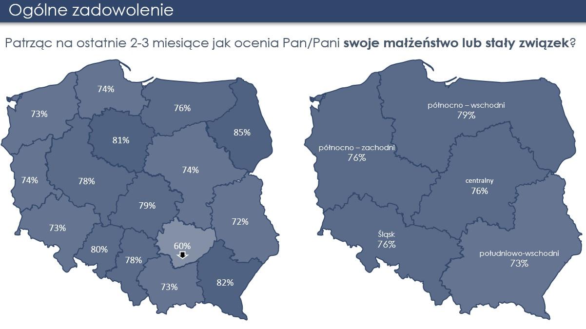 Zadowolenie ze związków, mapa województw, badanie prof. Z. Izdebskiego, 2020