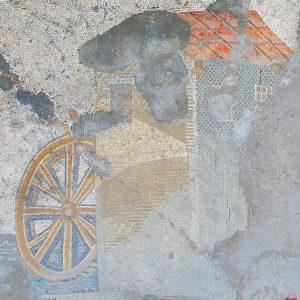 Młyn wodny na mozaice z Wielkiego Pałacu cesarza Justyniana w Konstantynopolu. Źródło: https://www.livius.org/museum/istanbul-mosaic-museum/.