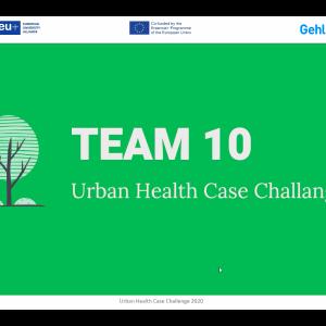 Prezentacja zespołu UW podczas finału Urban Health Case Challenge. Spotkanie online. Organizator: School of Global Health i Sojusz 4EU+.
