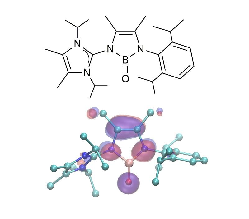 Schematyczna struktura nowego związku chemicznego zawierającego wiązanie B=O oraz model teoretyczny tego związku.