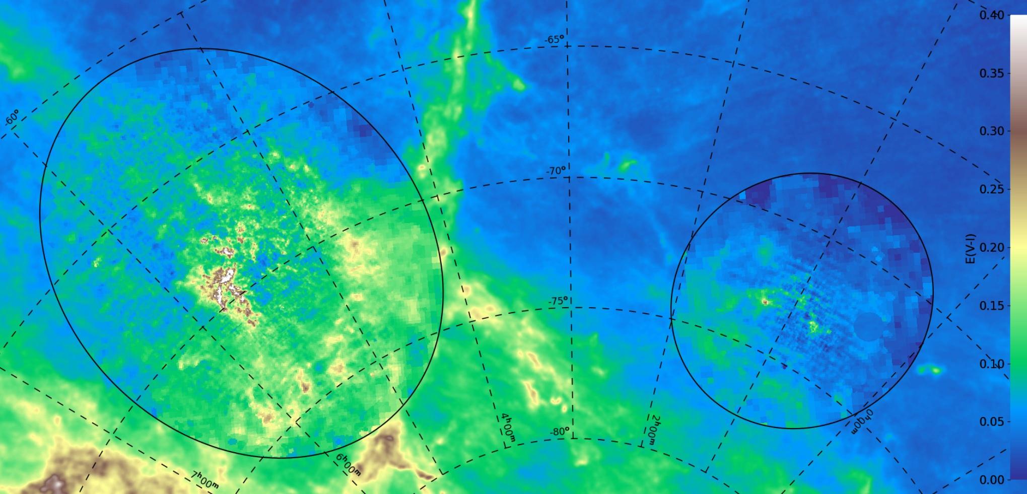 Mapa OGLE poczerwienienia międzygwiazdowego, E(V-I), w kierunku Wielkiego (lewy owal) i Małego (prawy owal) Obłoków Magellana. Poczerwienienie pomiędzy Obłokami pochodzi z innych badań.