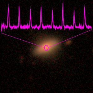 Zdjęcie w zakresie optycznym drugiej galaktyki, w której odkryte zostały pseudo-okresowe erupcje podczas przeglądu nieba realizowanego przez teleskop rentgenowski eROSITA. Różowym kolorem narysowana jest rentgenowska krzywa blasku uzyskana teleskopem XMM-Newton. Galaktyka oznaczona jest jako 2MASX J02344872-4419325, a jej przesunięcie ku podczerwieni wynosi z~0.02. Obserwowane impulsy są znacznie węższe niż w przypadku pierwszego źródła. Okres wynosi około 2.4 godziny. Źródło: MPE; zdjęcie galaktyki: DESI Legacy Imaging Surveys/D. Lang (Perimeter Institute).