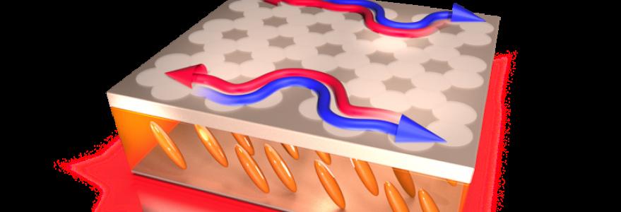 Wizja artystyczna urządzenia fotonicznego – kondensaty Bosego-Einsteina o przeciwnej polaryzacji (niebieska i czerwona strzałka) poruszają się bez rozproszeń w przeciwnych kierunkach po sztucznej sieci krystalicznej utworzonej na powierzchni ciekłego kryształu (szare koła nad żółtymi wydłużonymi molekułami). Rys. Mateusz Król.