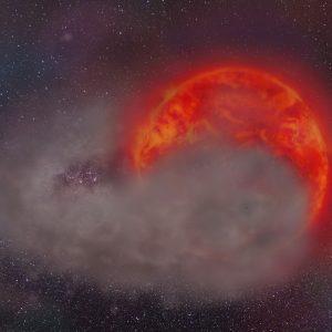 Wizja artystyczna czerwonego olbrzyma zaćmiewanego przez chmurę pyłu otaczającą małomasywnego towarzysza gwiazdy. Autorka: Matylda Soszyńska.