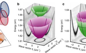 a Schemat mikrownęki optycznej wypełnionej ciekłym kryształem, b-d dane doświadczalne dwuwymiarowej polaryzacyjnej tomografii optycznej (kx, ky) odbicia od wnęki zmierzone dla napięć 0.0 (b), 1.38 (c), oraz 2.48 V (d). Polaryzacje liniowe zaznaczono na zielono (H) i różowo (V), polaryzacje kołowe () zaznaczono na czerwono (niebiesko) [1] [1] Engineering spin-orbit synthetic Hamiltonians in liquid-crystal optical cavities Rechcinska, Katarzyna; Krol, Mateusz; Mazur, Rafal; Morawiak, Przemyslaw; Mirek, Rafal; Lempicka Witold Bardyszewski, Michał; Matuszewski, Przemysław; Kula, Wiktor; Piecek, Pavlos G. Lagoudakis, Barbara Piętka, Jacek Szczytko SCIENCE 366 (6466), 727 (2019), DOI:10.1126/science.aay4182